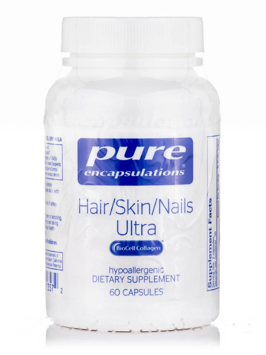 Уход за волосами / кожей / ногтями, Hair/Skin/Nails Ultra, Pure Encapsulations, 60 капсул