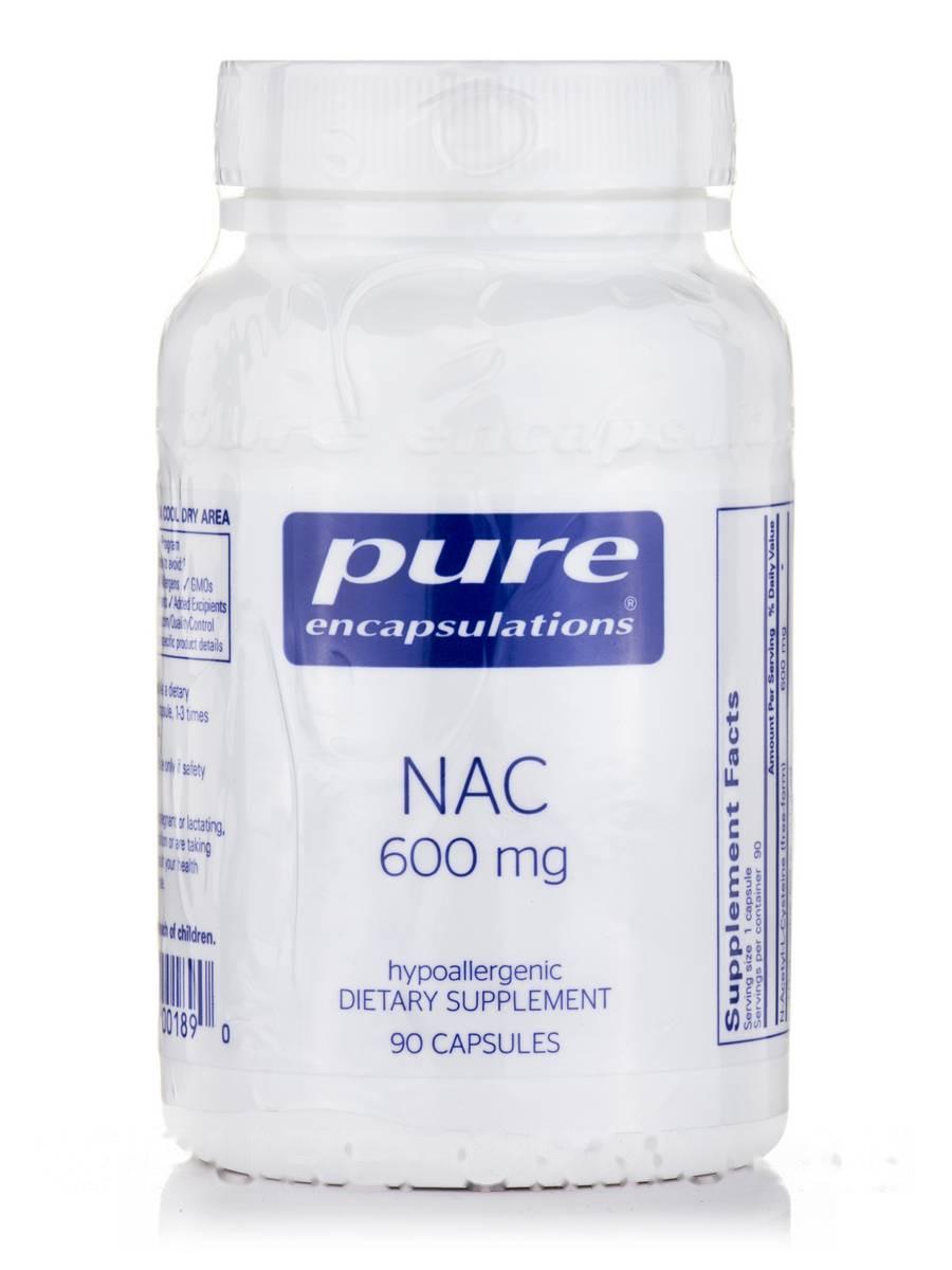 НАК (N-ацетил-1-цистеин) 600 мг, NAC (N-Acetyl-l-Cysteine), Pure Encapsulations, 90 капсул