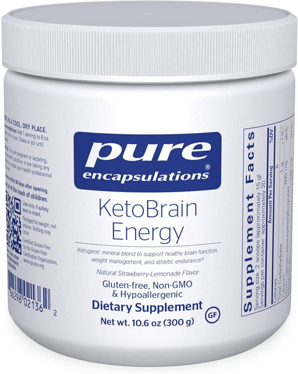 Кетоны для энергии мозга и спортивной выносливости, KetoBrain Energy, Pure Encapsulations,