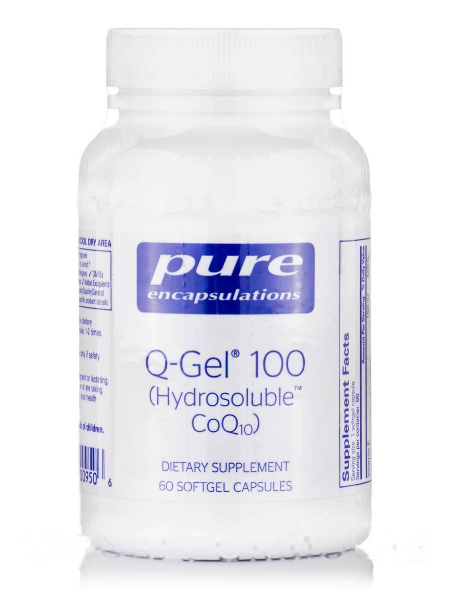 Q-Гель (Гидроразрушаемый Коензим ) Q-Gel (Hydrosoluble CoQ10), Pure Encapsulations, 100 мг 60 Капсул