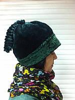 Эксклюзивная молодежная шапка из искусственного меха цвет зеленый