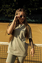 Футболка Comfort женская оливковая с рефлективным принтом