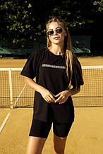 Футболка Comfort женская чёрная с рефлективным принтом