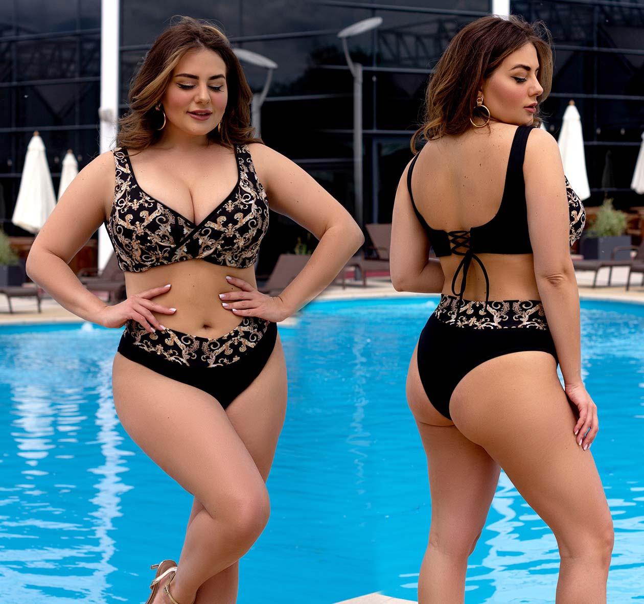 """Жіночий роздільний купальник у великих розмірах 507 """"Ліф Принт Палітурка"""" в кольорах"""