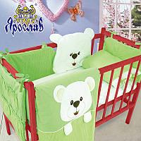 Комплект в детскую кроватку постельное белье + защита 100% хлопок