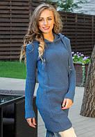 Женское вязаное платье-туника с капюшоном
