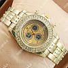 Модные наручные часы Rolex Brilliant Gold/Gold-black 2075