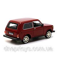 Игрушечная машинка металлическая ВАЗ Lada Niva «Автопром», красный, от 3 лет, 16*8*7 см, (21214), фото 3
