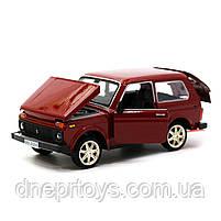 Игрушечная машинка металлическая ВАЗ Lada Niva «Автопром», красный, от 3 лет, 16*8*7 см, (21214), фото 4