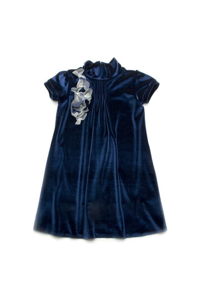 Нарядное бархатное платье для девочки 4-8 лет, р. 110-128 ТМ ТМ Модный карапуз Синий 03-00547-4
