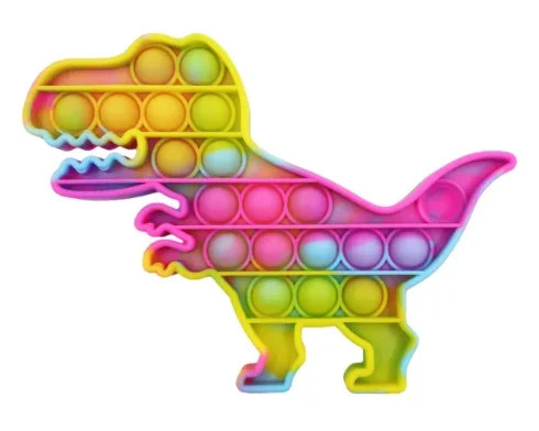 Антистрес Pop it Поп іт Динозавр веселка нескінченна пупырка 12,5 х 12,5 см