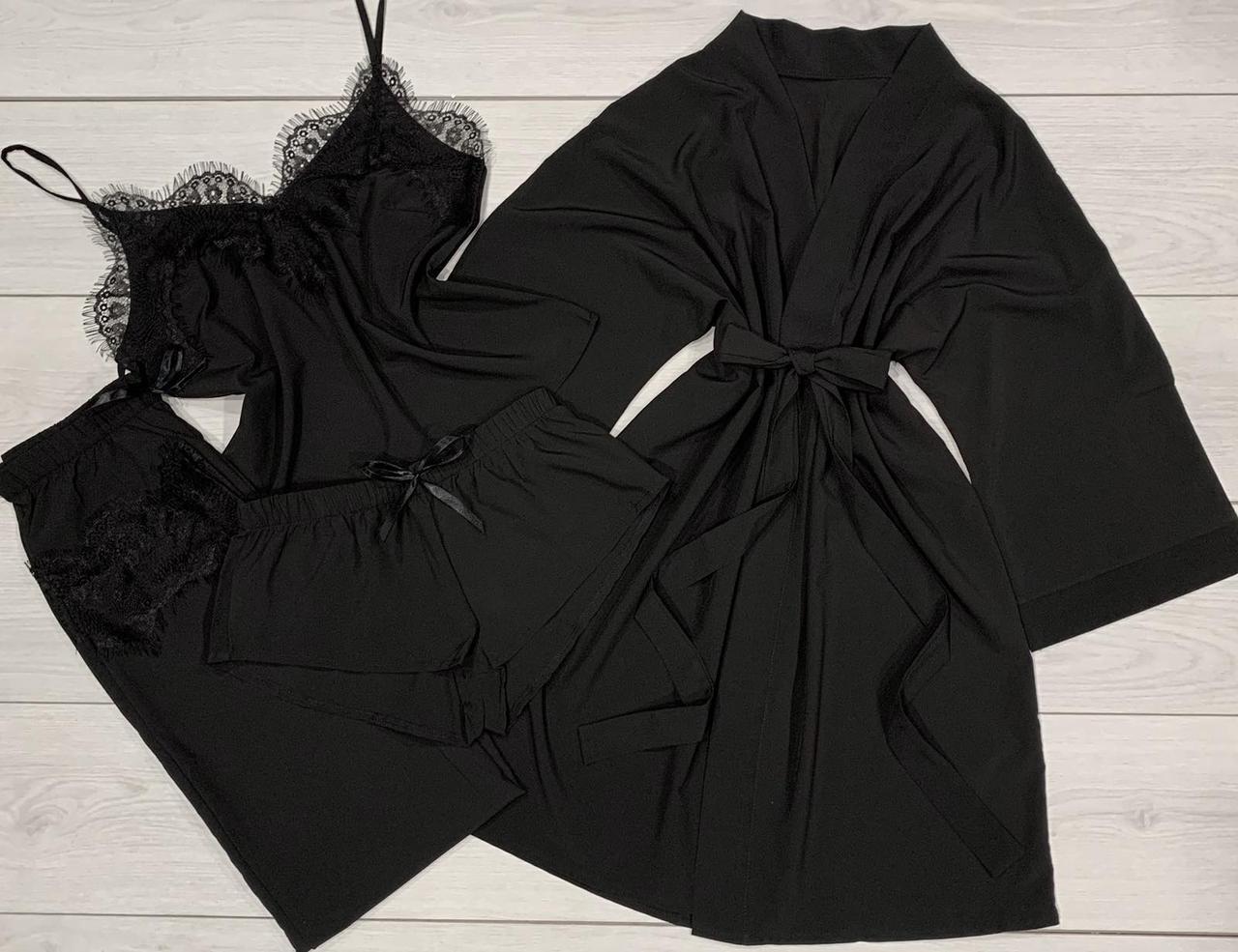 Пижамный комплект с кружевом + Халат-кимоно Одежда для сна и отдыха