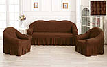 Комплект Чехлов Жатка универсальных натяжных с юбкой на 3х местный Диван + 2 кресла  Розовый, фото 8
