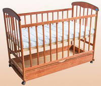 Кроватка Наталка с ящиком ольха тонированная