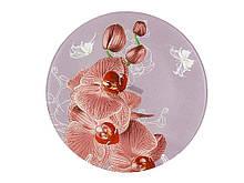 """Блюдо стеклянное Орхидея сиреневая d=300 мм """"Lumines"""""""