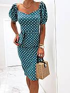 Лаконичное платье длиною до колен в мелкий горох, короткий рукав, фото 5