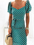 Лаконичное платье длиною до колен в мелкий горох, короткий рукав, фото 4