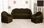 Комплект Чехлов Жатка универсальных натяжных с юбкой на 3х местный Диван + 2 кресла Темно - бутылочный, фото 3