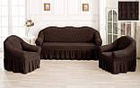 Комплект Чехлов Жатка универсальных натяжных с юбкой на 3х местный Диван + 2 кресла Темно - бутылочный, фото 7