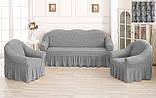 Комплект Чехлов Жатка универсальных натяжных с юбкой на 3х местный Диван + 2 кресла Кремовый, фото 10