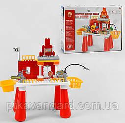 Игровой столик с Конструктором Пожарная станция, машинка 55 больших деталей