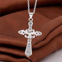 """Женская подвеска """"Крест"""" №3, покрытие серебро 925"""
