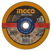 Диск абразивний відрізний по металу 180х1.6*22.2 мм INGCO