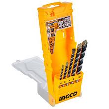 Набір свердел по бетону 5 шт 4-10 мм INGCO