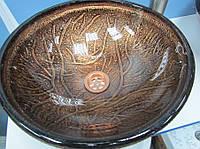 Оригинальный умывальник (HS 6100) с орнаментами стеклянный круглый 420 мм