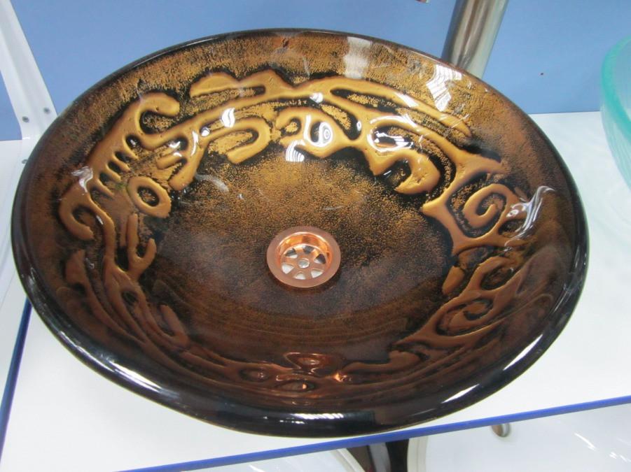 Оригинальный накладной умывальник (HS 6135) с орнаментами стеклянный