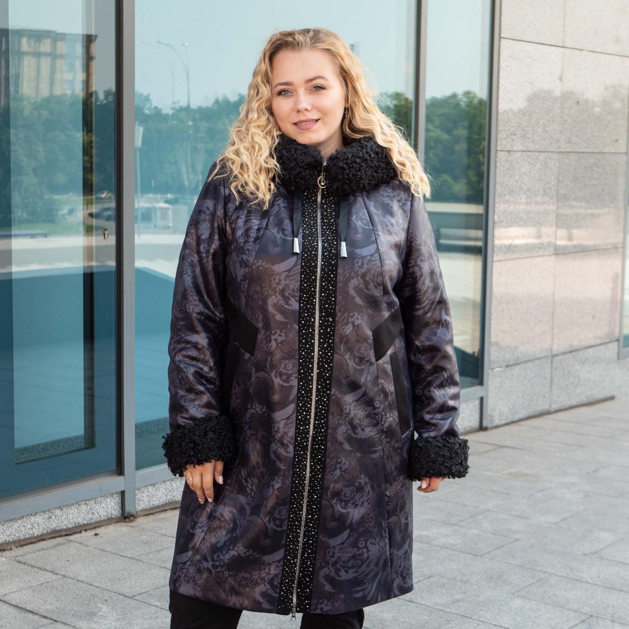 Зимнее женское пальто большого размера   50-60 хаки