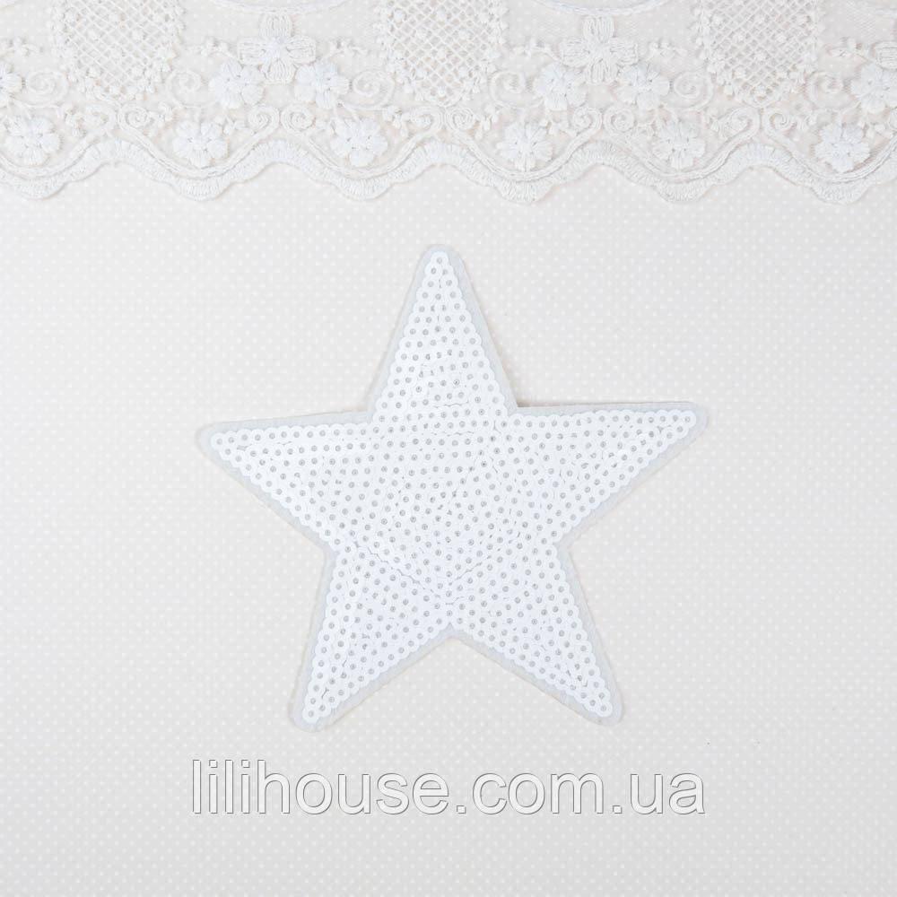 Термонашивка Аплікація для Одягу та Декору Зірка Велика Біла 13 см