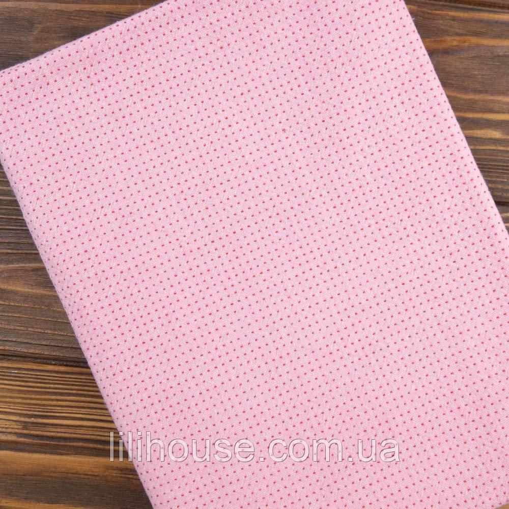 """Японский Фактурный Хлопок для Пэчворка и Кукол """"Мини точки розовый"""", 35*25 см"""