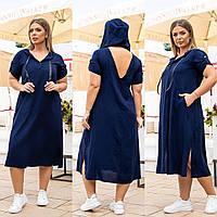 Новинка! Оригінальне плаття з штапелю, батал, арт А5181, колір т. синій