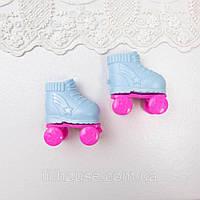 Обувь для кукол Ролики Пластик 5*3 см ГОЛУБЫЕ с РОЗОВЫМ