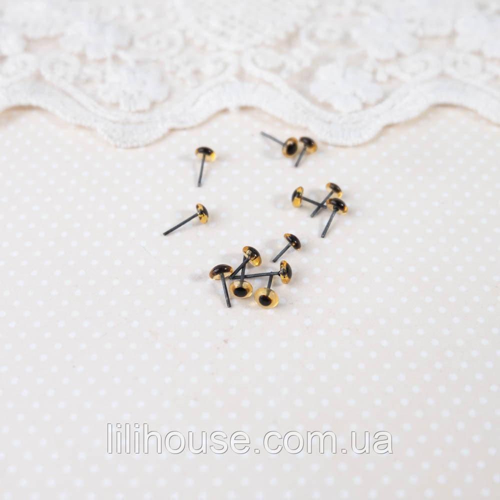 Глазки для Кукол Пластик 5 пар ПРОЗРАЧНАЯ ОХРА 4 мм