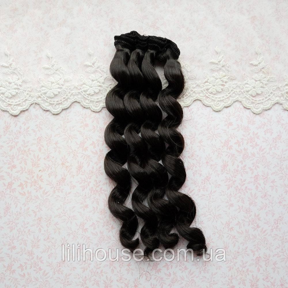 Волосся для Ляльок Тресс Кучері ЧОРНІ 25 см