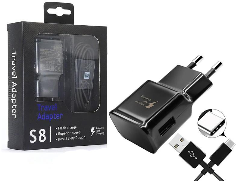 Зарядний Samsung S8 Type C + кабель чорне