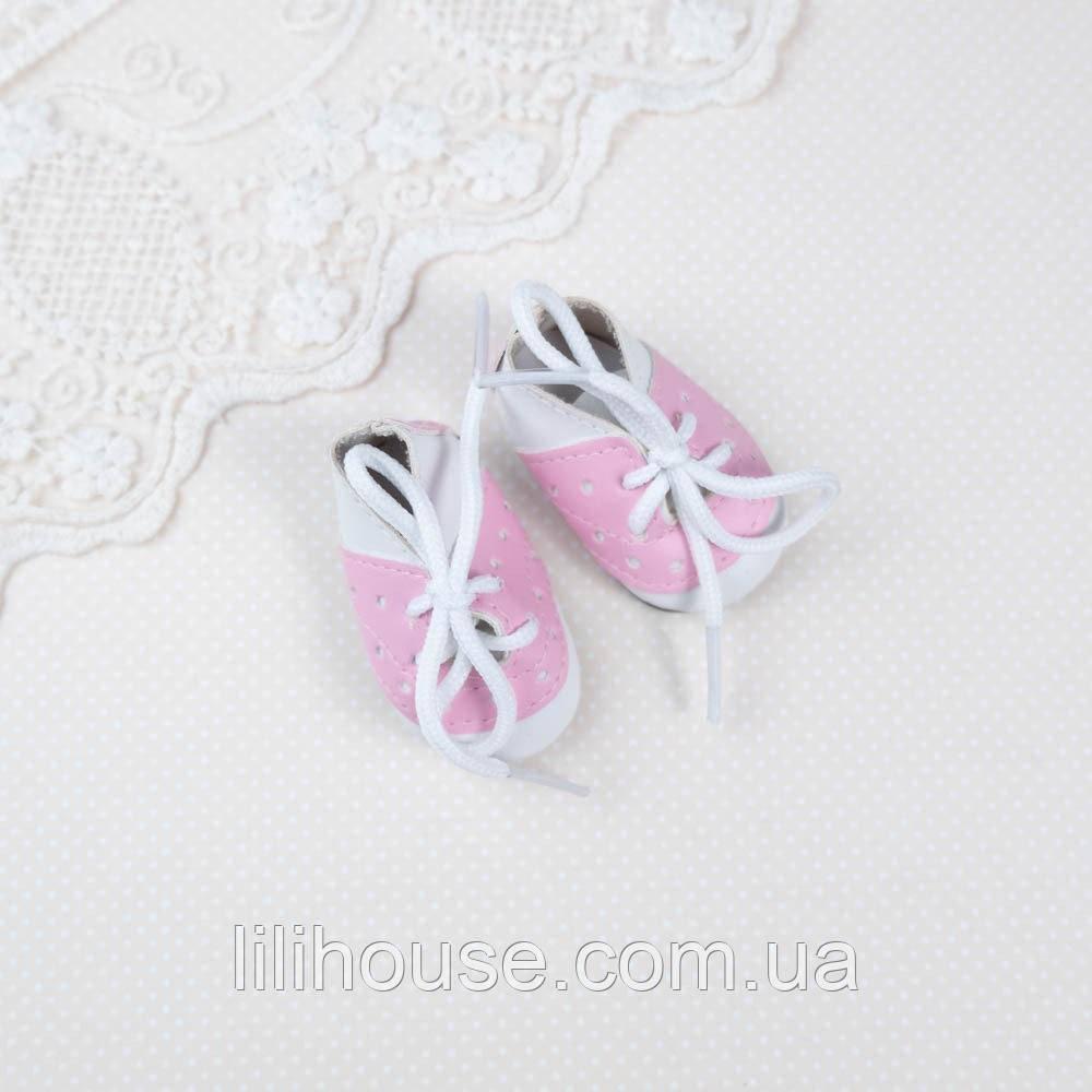 Взуття для ляльок Черевички Перфорація 5*2.5 см БІЛІ з РОЖЕВИМ