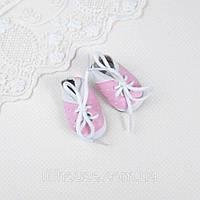 Взуття для ляльок Черевички Перфорація 5*2.5 см БІЛІ з РОЖЕВИМ, фото 1