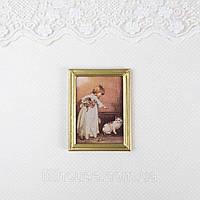 1:12 Миниатюра Картина ДЕВОЧКА с КОТАМИ 5.5*7.3 см