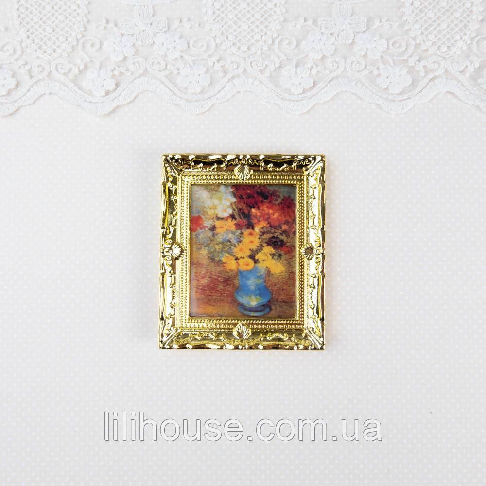 1:12 Мініатюра Картина ВАЗА з КВІТАМИ 6.5*7.7 см