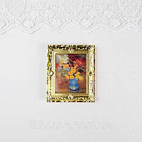 1:12 Мініатюра Картина ВАЗА з КВІТАМИ 6.5*7.7 см, фото 1