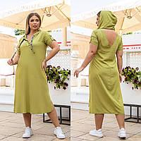Новинка! Оригінальне плаття з штапелю, батал, арт А5181, колір оливка