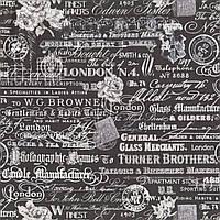 """Американский Хлопок Ткань для Пэчворка и Рукоделия """"Текст на Темном"""" 23*55 см"""