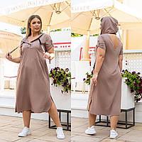 Новинка! Оригінальне плаття з штапелю, батал, арт А5181, колір беж