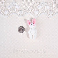 Мягкая Игрушка Кролик 5.5 см с ушками БЕЛЫЙ с РОЗОВЫМ