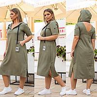 Новинка! Оригінальне плаття з льону, батал, арт А518, колір хакі