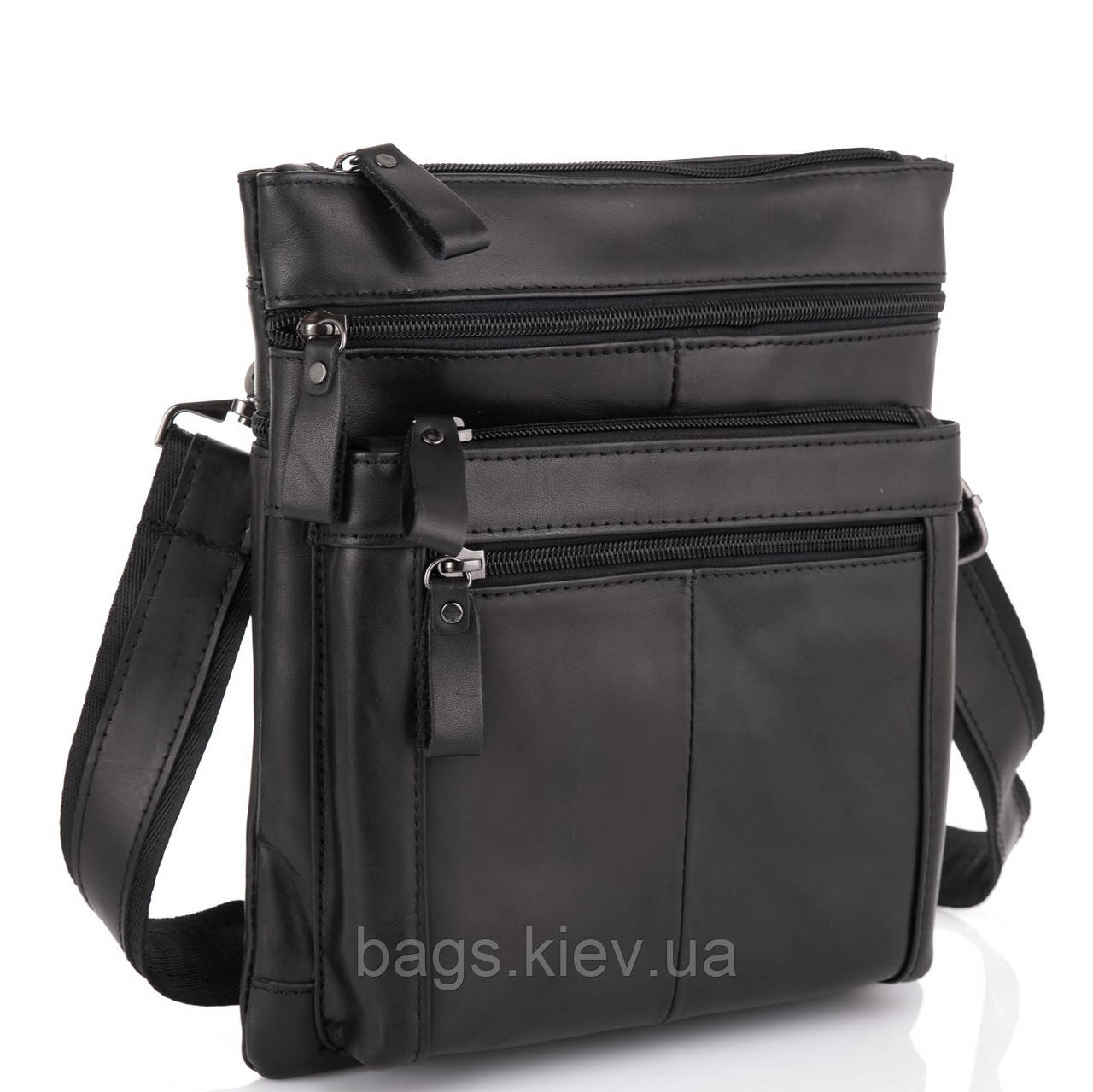 Черная мужская кожаная сумка через плечо Tiding Bag N2-8011A