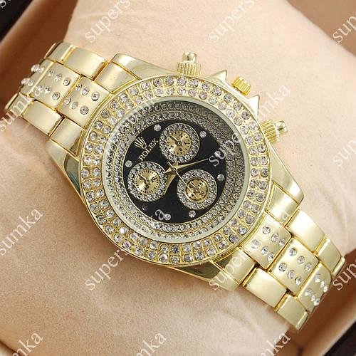 Кварцевые наручные часы Rolex Brilliant Gold/ Gold-black 2077
